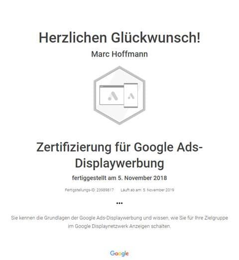 Google Ads Zertifikat